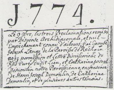 1774 mariage joseph lange cath demoulin reg par chaineux