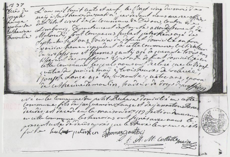 1809 deces joseph lange