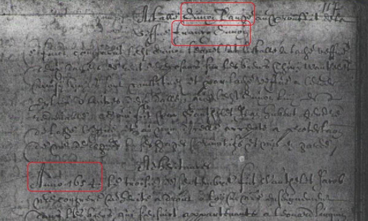 Acte simon l ange succession francq simon anno 1654 reg oe pt rech 117