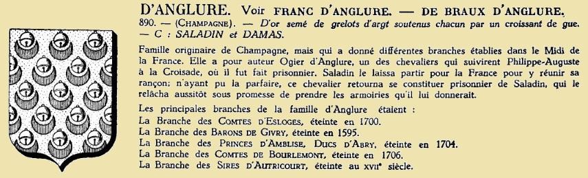 Anglure description du grand armorial de france
