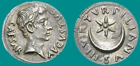 Auguste rome monnaie croissant etoile
