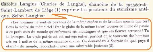Carolus langius ses positions sur la patrie et la nationalite