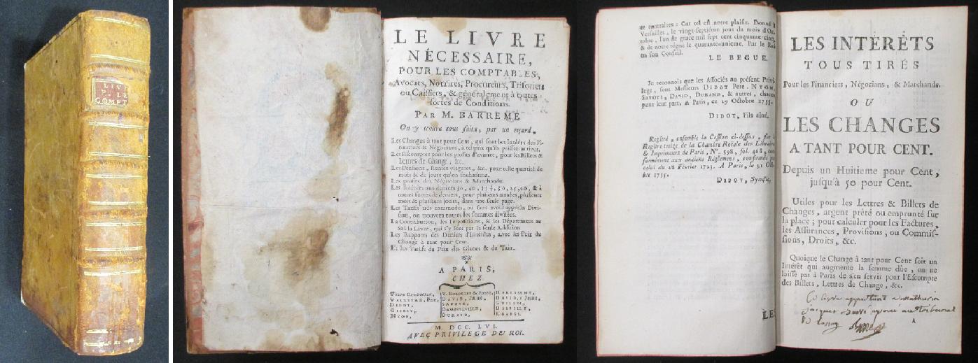 Comptes faits 1761 barreme