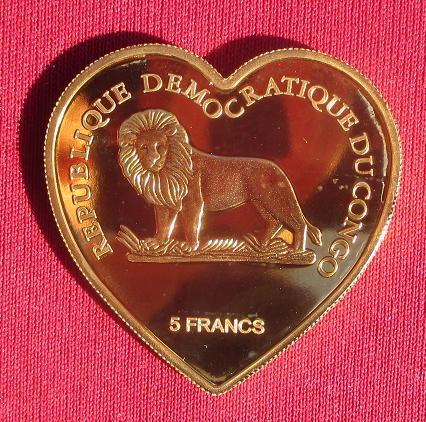 Congo rdc cinq francs en coeur