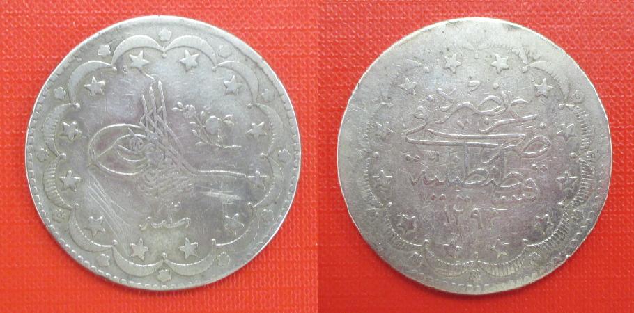 Empire ottoman 20 piastres 1876