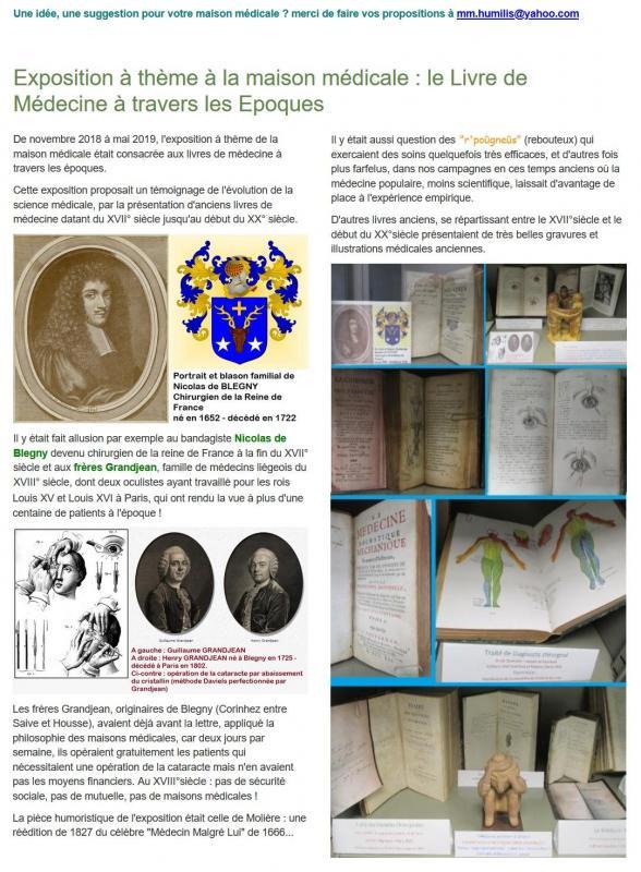 Expo anciens livres medecine mm humilis