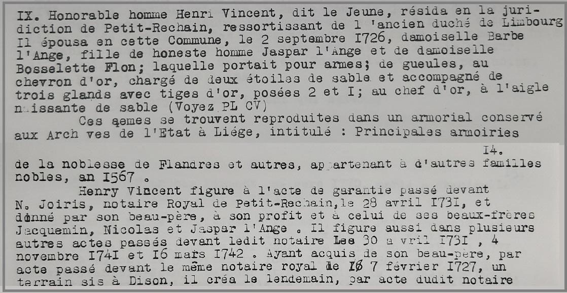 Genealogie lejeune vincent citation blason jaspar l ange gaspard lange