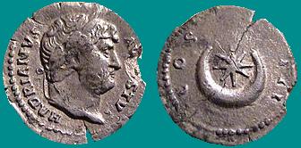 Hadrien monnaie romaine croissant etoile