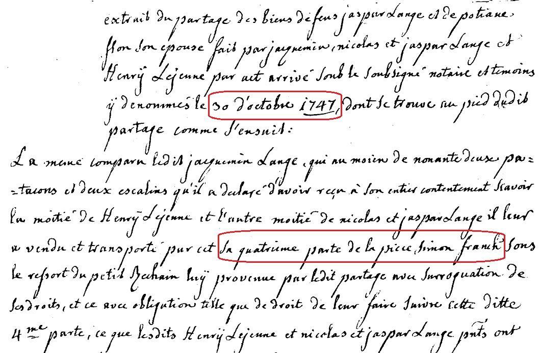 Lange 1747 partage piece simon franck a petit rechain