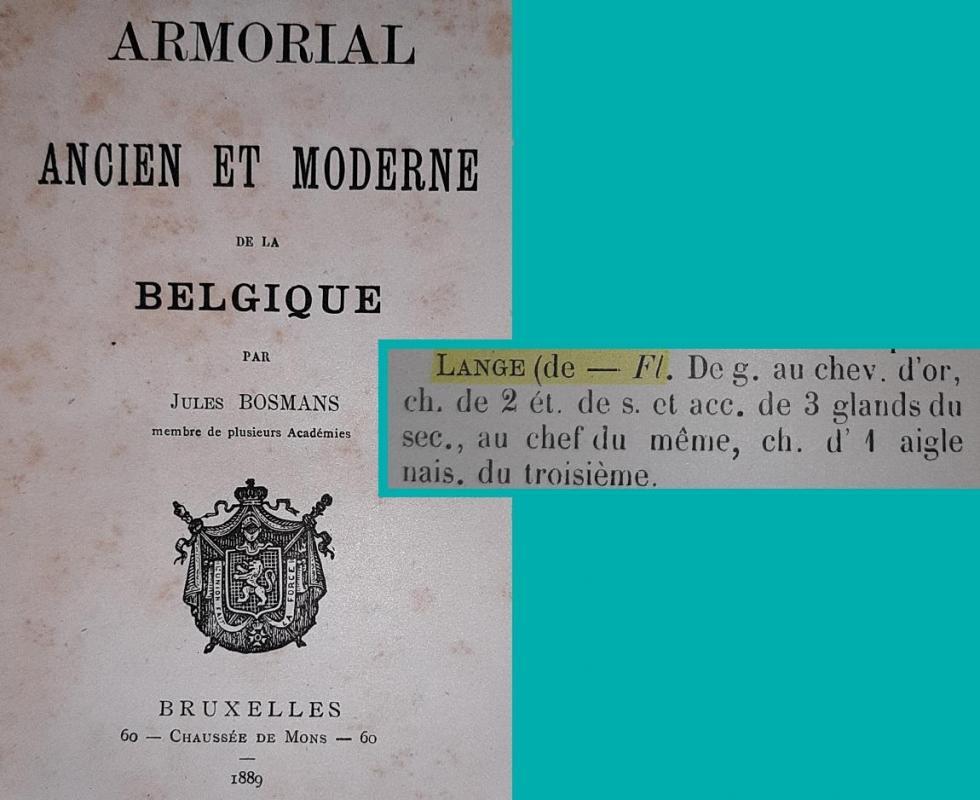 Lange de flandre armorial jules bosmans 1889