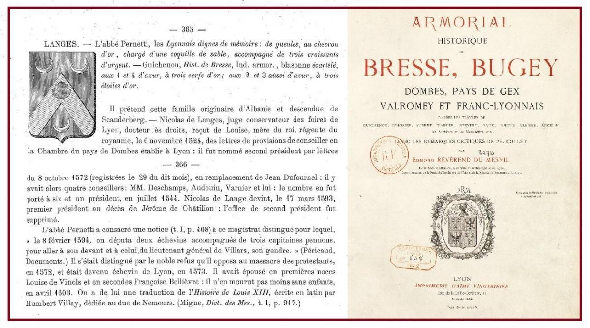Langes famille de l ange histoire armorial de bresse bugey dombes franc lyonnais