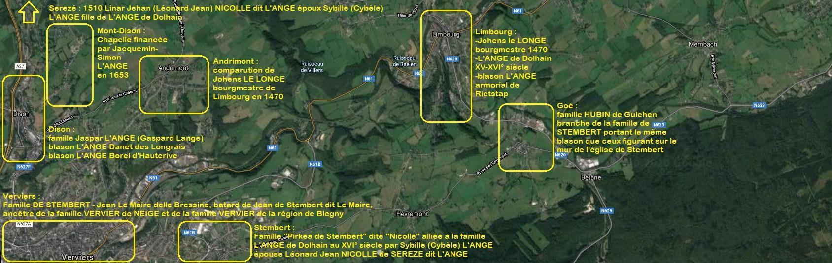 Limbourg carte satellite villages avoisinants