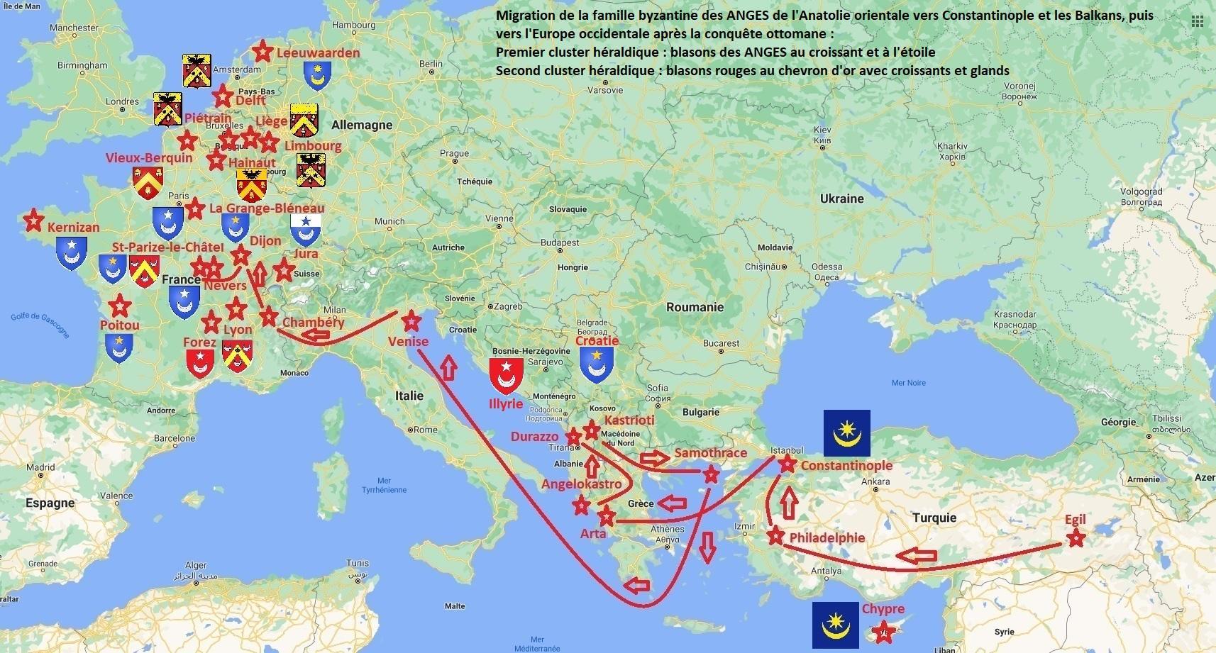 Migration des familles des anges et cluster heraldique